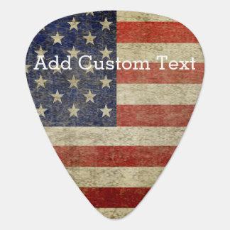 Bandera americana resistida, apenada púa de guitarra