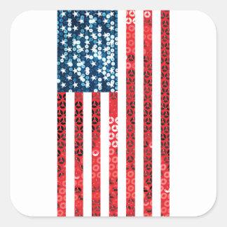 bandera americana vertical pegatina cuadrada