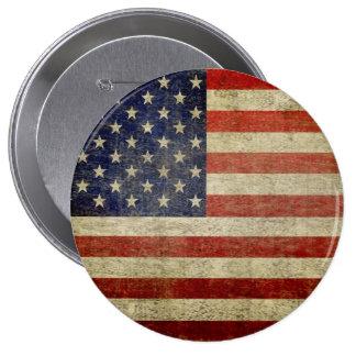 Bandera americana vieja chapa redonda de 10 cm