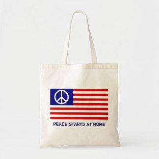 Bandera americana y signo de la paz bolsa tela barata