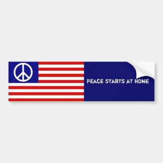 Bandera americana y signo de la paz pegatina para coche