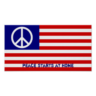 Bandera americana y signo de la paz póster