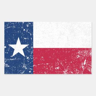 Bandera apenada de Tejas del Grunge Pegatina Rectangular