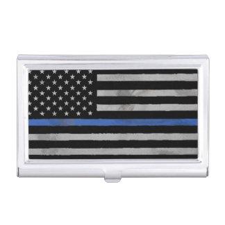 Bandera apenada hecha andrajos Blue Line fina Caja De Tarjetas De Presentación
