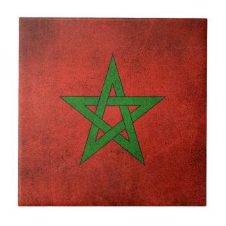 Bandera apenada vintage de Marruecos Azulejo Cuadrado Pequeño