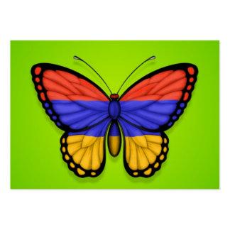 Bandera armenia de la mariposa en verde plantilla de tarjeta de negocio