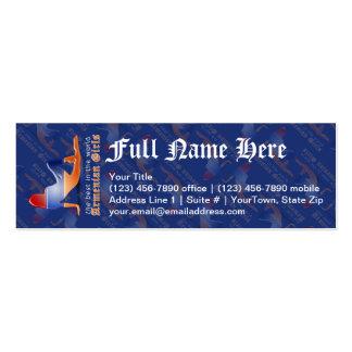Bandera armenia de la silueta del chica tarjetas de visita mini