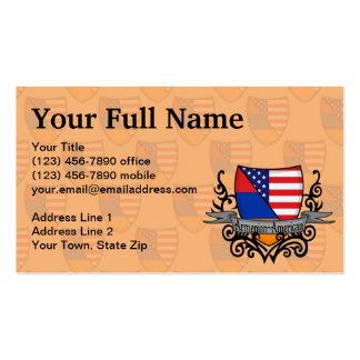Bandera Armenio-Americana del escudo Tarjetas De Visita