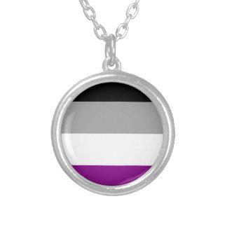 Bandera asexual del orgullo collar plateado