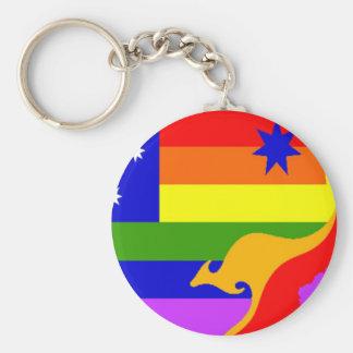 Bandera australiana del orgullo gay llavero redondo tipo chapa