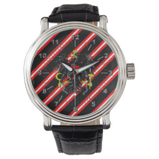 Bandera austríaca de las rayas reloj de pulsera