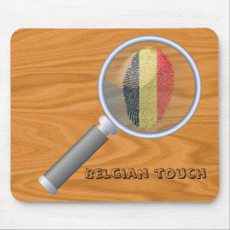 Bandera belga de la huella dactilar del tacto alfombrilla de ratón