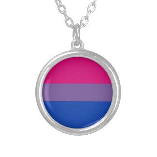 Bandera bisexual del arco iris del orgullo de LGBT Collar Plateado