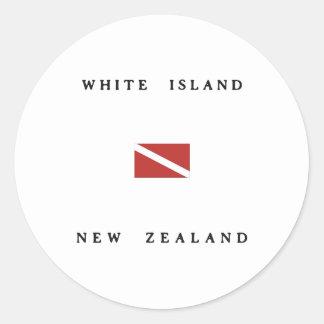 Bandera blanca de la zambullida del equipo de pegatina redonda
