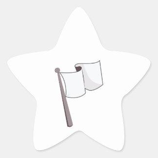 Bandera blanca que agita pegatina en forma de estrella