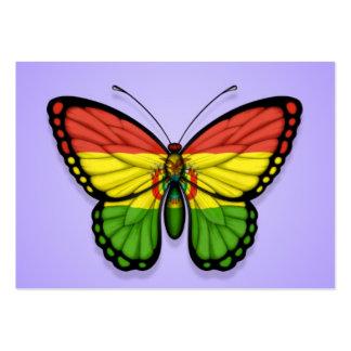 Bandera boliviana de la mariposa en púrpura tarjetas de visita