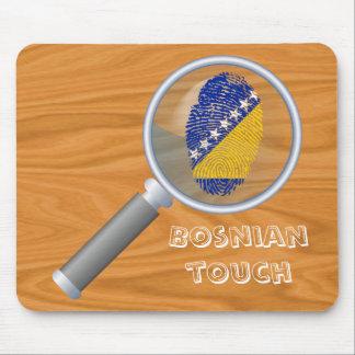Bandera bosnio de la huella dactilar del tacto alfombrilla de ratón