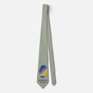 Bandera bosnio de la huella dactilar del tacto corbata personalizada