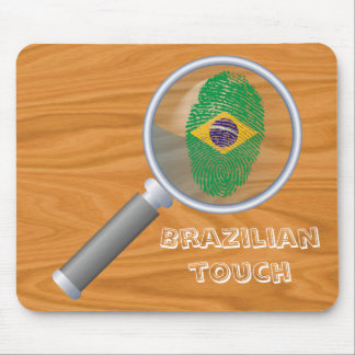 Bandera brasileña de la huella dactilar del tacto alfombrilla de ratón