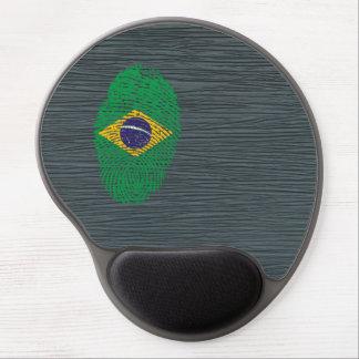 Bandera brasileña de la huella dactilar del tacto alfombrilla de ratón de gel