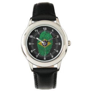 Bandera brasileña de la huella dactilar del tacto reloj de pulsera