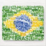 Bandera brasileña - el Brasil textual Alfombrilla De Ratón