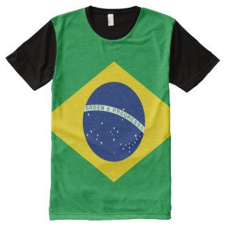 Bandera brasileña por completo camiseta con estampado integral