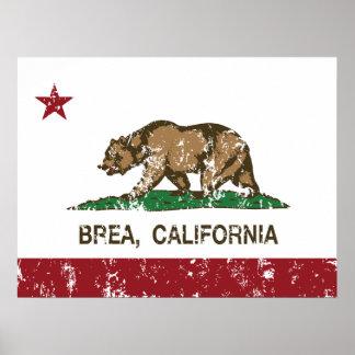 Bandera Brea del estado de California Póster