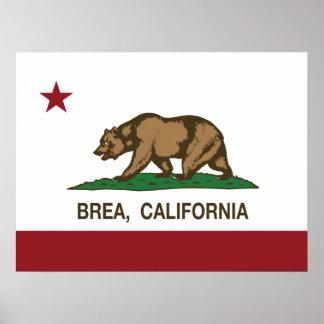 Bandera Brea del estado de California Posters