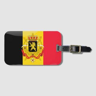 Bandera brillante belga etiqueta para maletas