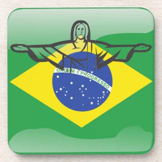 Bandera brillante brasileña posavasos