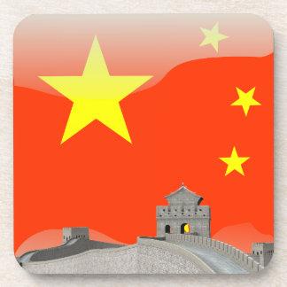 Bandera brillante china posavasos