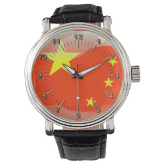 Bandera brillante china reloj de mano
