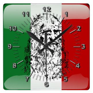 Bandera brillante de Italia Reloj Cuadrado