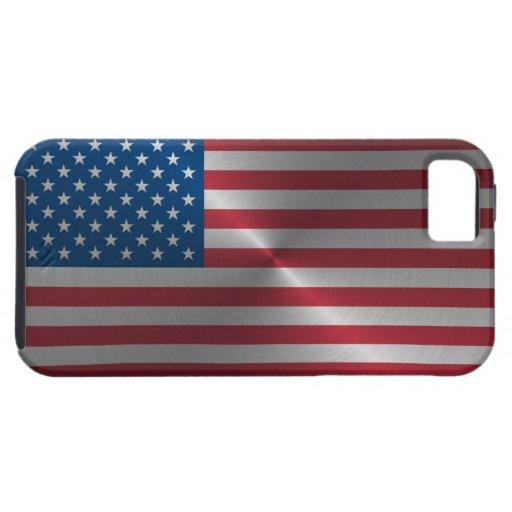 Bandera brillante de los E.E.U.U. del acero iPhone 5 Case-Mate Cárcasa