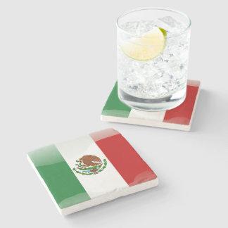 Bandera brillante de México Posavasos De Piedra