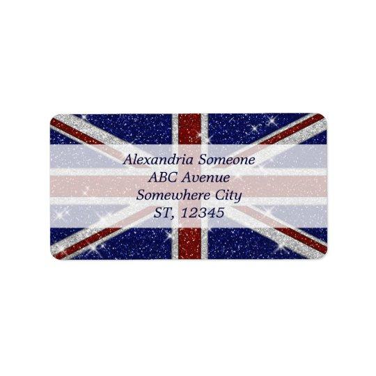 Bandera brillante de Union Jack de la chispa de Etiqueta De Dirección