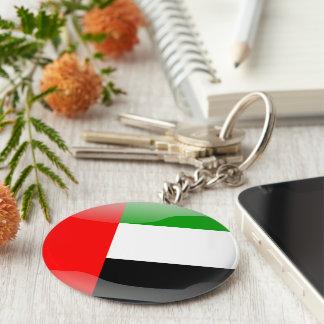 Bandera brillante de United Arab Emirates Llavero Redondo Tipo Chapa