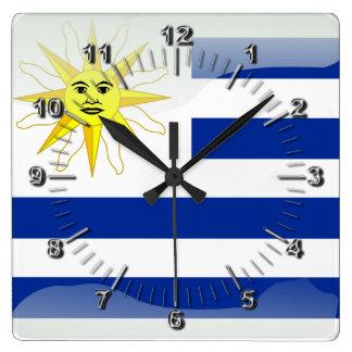 Bandera brillante de Uruguay Reloj Cuadrado
