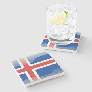 Bandera brillante islandesa posavasos de piedra