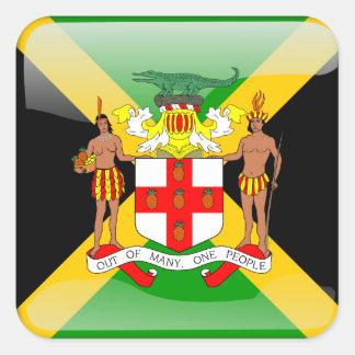 Bandera brillante jamaicana pegatina cuadrada