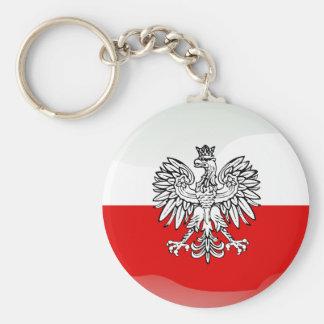 Bandera brillante polaca llavero redondo tipo chapa