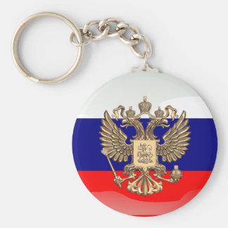 Bandera brillante rusa llavero redondo tipo chapa
