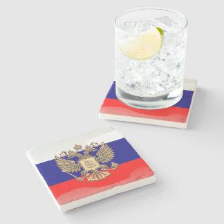 Bandera brillante rusa posavasos de piedra