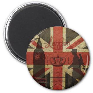 Bandera británica, autobús rojo, Big Ben y autores Imán Redondo 5 Cm