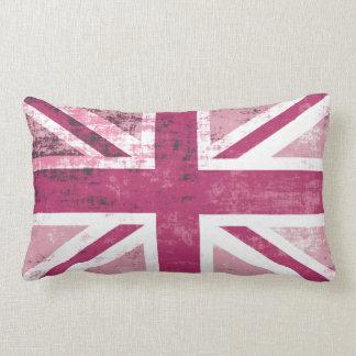 Bandera BRITÁNICA británica de Union Jack en rosa Cojín Lumbar