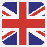 Bandera británica calcomanías cuadradases