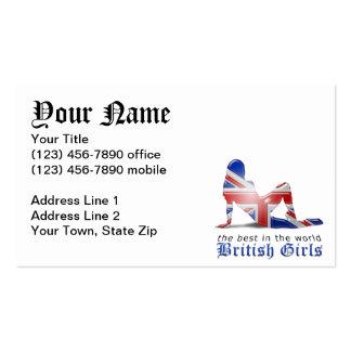 Bandera británica de la silueta del chica tarjetas de visita