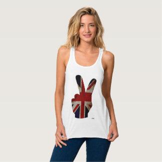 Bandera BRITÁNICA del grunge del dedo de la Camiseta De Tirantes Cruzados Holgada