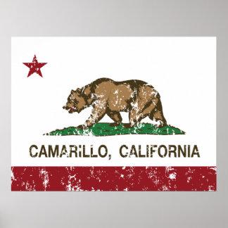 Bandera Camarillo del estado de California Poster